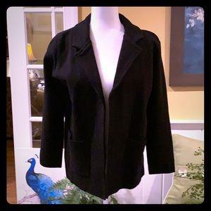 Magaschoni black blazer. Beautiful make